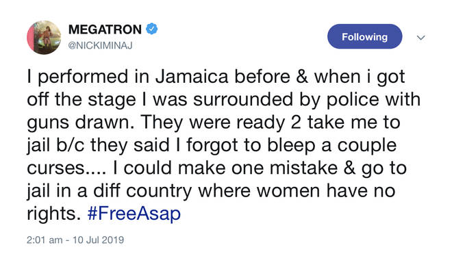 The rapstress recounted an incident with the Jamaican police after one of her shows.