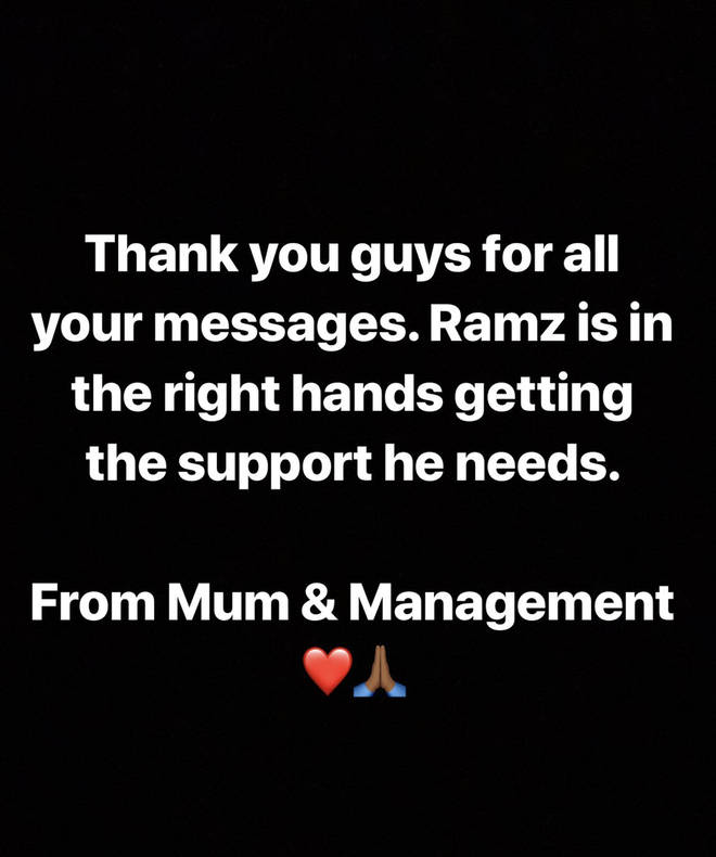 Ramz's mother and management issued a statement.