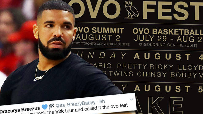 Drake has been mocked by fans for having similar acts on the OVO Fest lineup to the B2K Millennium Tour