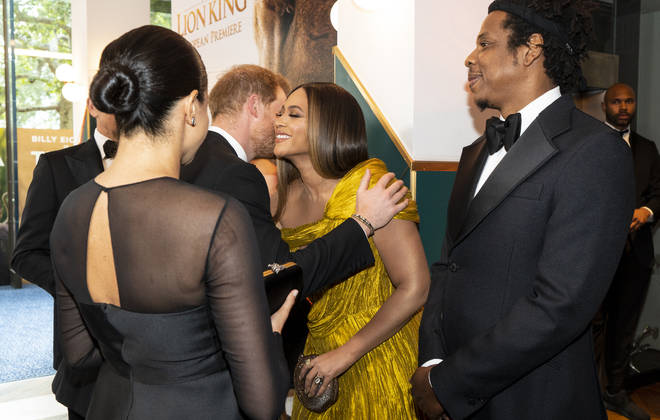 Prince Harry and Meghan Markle met Beyoncé and Jay-Z at the European premiere of The Lion King yesterday