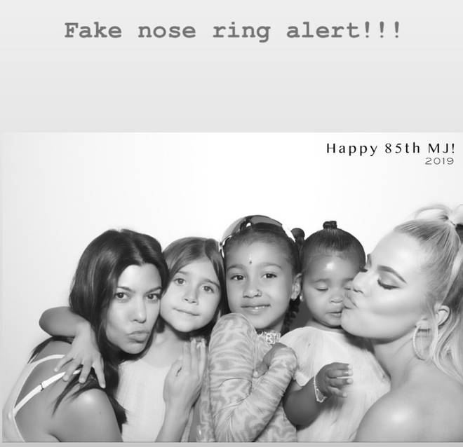 """Fake nose ring alert!!!"" wrote Kim in response to the rumours."