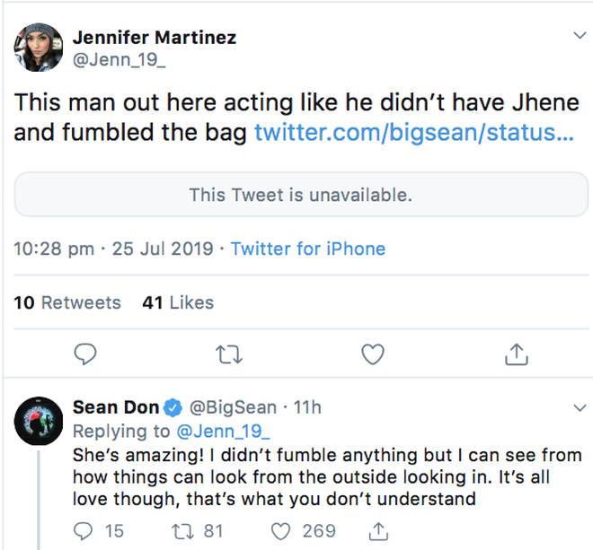 Big Sean responds to fan on Twitter