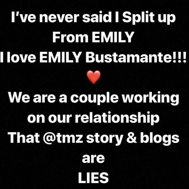 The rapper denied his alleged split from Emily on Instagram.