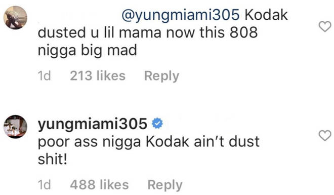 Yung Miami responds to Kodak Black diss in Instagram comments
