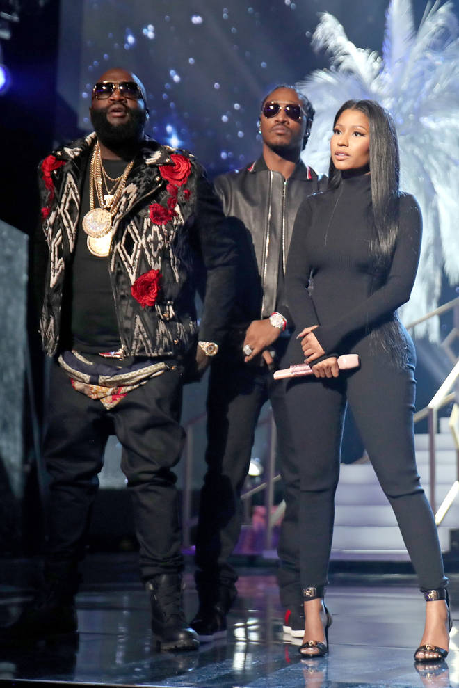 Nicki called out Ross for his lyrics about her on his 2017 track 'Apple Of My Eye' (The duo pictured here with Future at the 2016 American Music Awards.)
