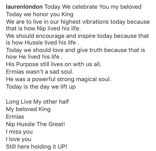 """Today We celebrate You my beloved  Today we honor you King,"" wrote Lauren."