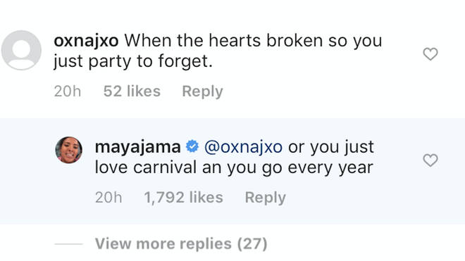 "Maya fired back a fan suggesting she was ""partying to forget"" her split with Stormzy."