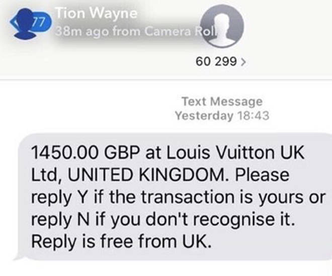 Tion Wayne revealed the fraudster bought a Louis Vuitton product off of his card