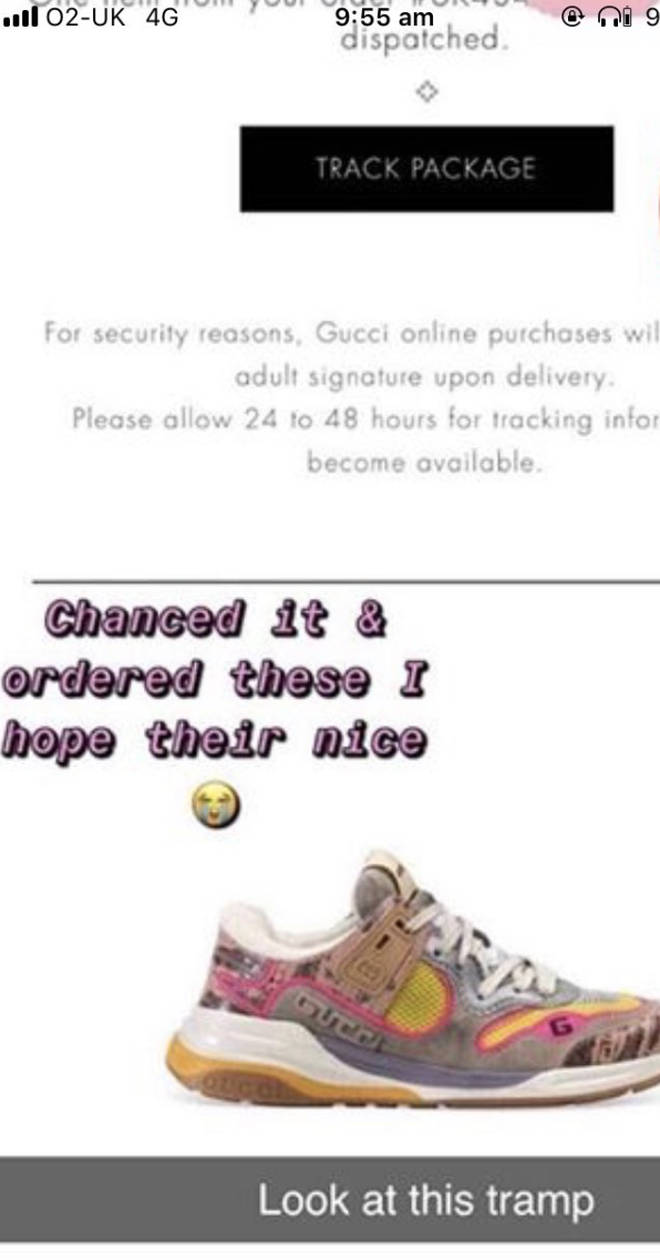 The Gucci trainers the fraudster ordered off Tion Wayne's card