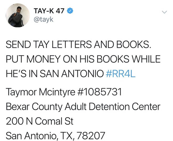 Tay-K's reps have revealed his jail