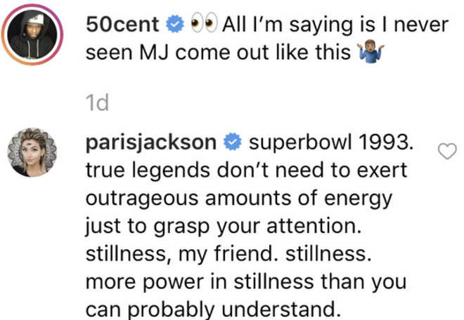 Paris Jackson defends her father's legacy underneath 50 Cent's post