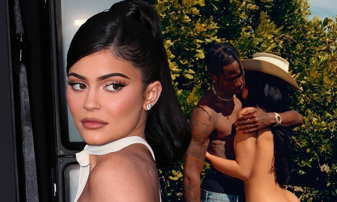 Kylie Jenner strips off for her upcoming Playboy over shoot with Travis Scott.