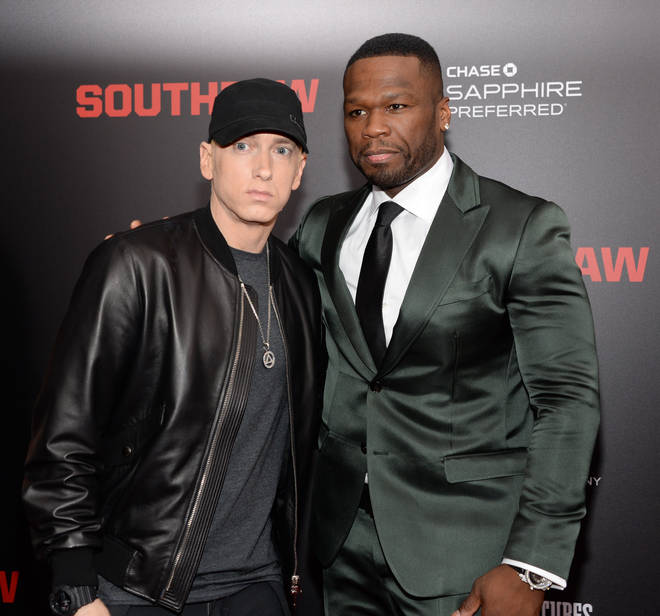 50 Cen confirmed to radio station Real 92.3 that Eminem has been cooking up some new music. (The pair pictured here in July 2015.)