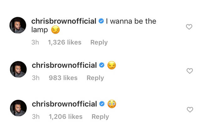 """I wanna be the lamp,"" wrote Chris with a suggestive face emoji."