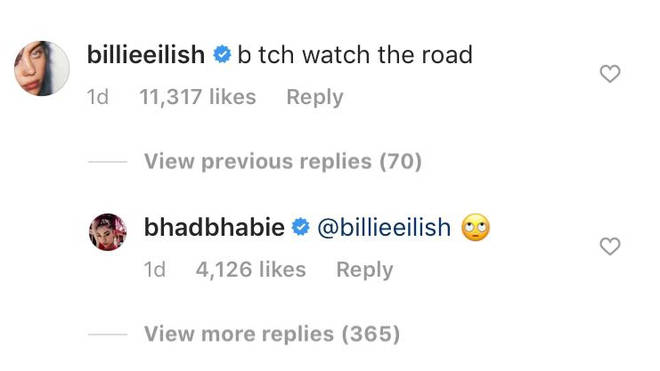 Billie warned her friend to watch the road while driving, to which Bhad Bhabie responded with an eye-roll emoji.