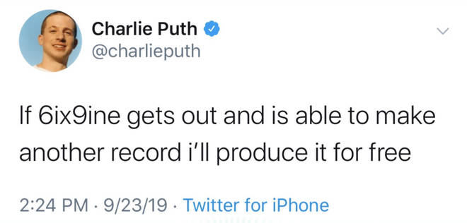In a since-deleted tweet, Charlie Puth offered to work with jailed rapper Tekashi 6ix9ine if he is released from prison.