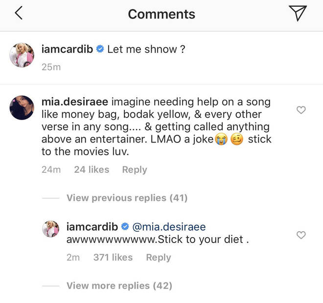"Cardi responded to a user trolling her songwriting skills by telling her to ""stick to [her] diet."""