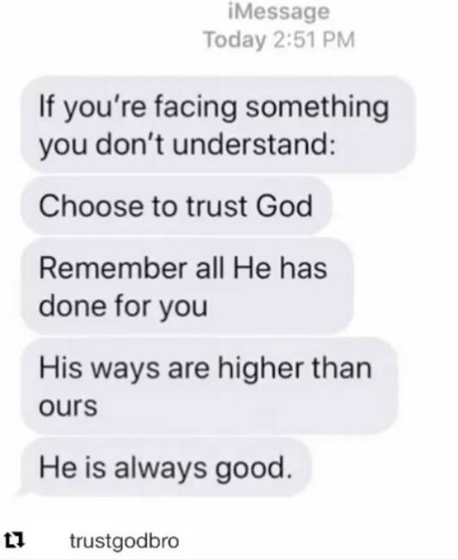 Snoop Dogg reposts 'trust god' Instagram post
