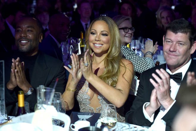 Director Lee Daniels, Mariah Carey, and James Packer at the 27th Annual GLAAD Media Awards.