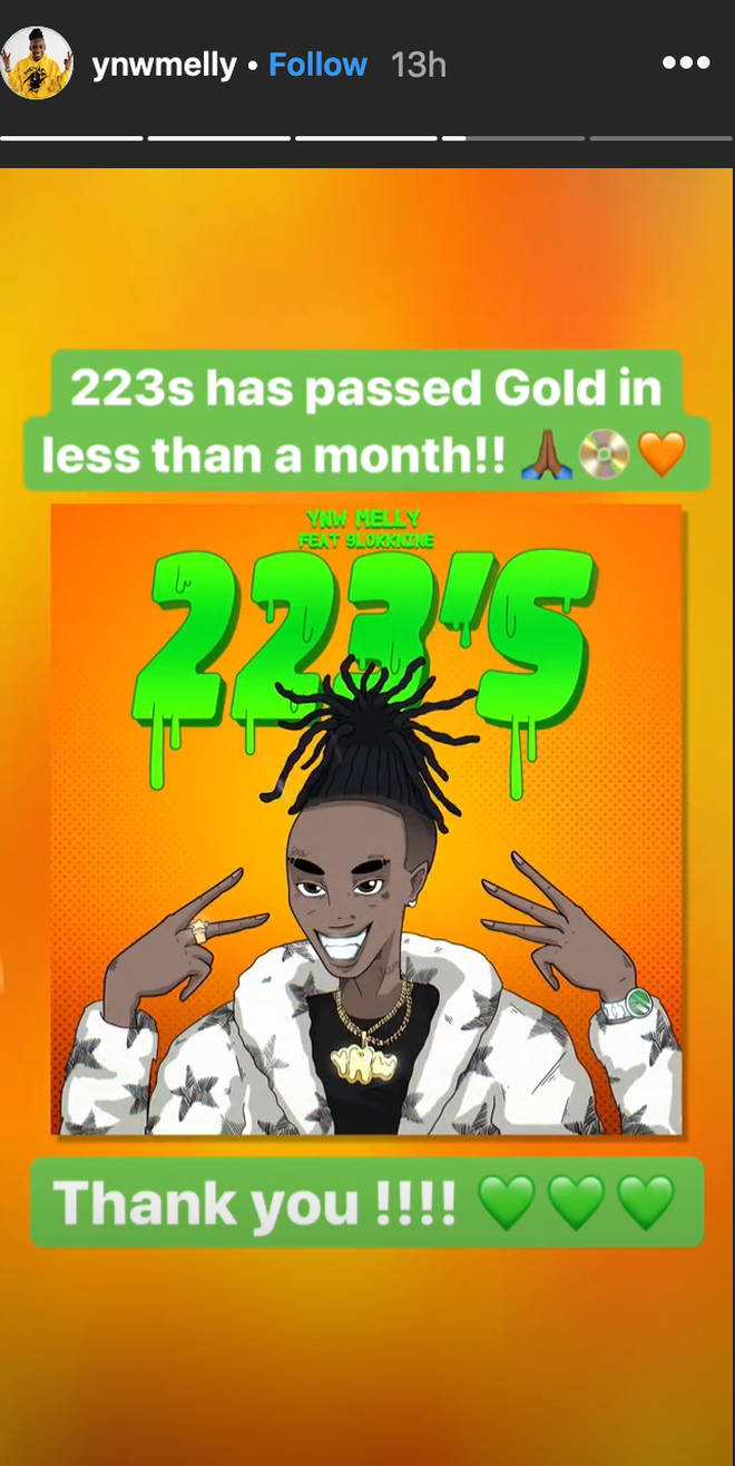 YNW Melly's song '223's' has been certified Gold