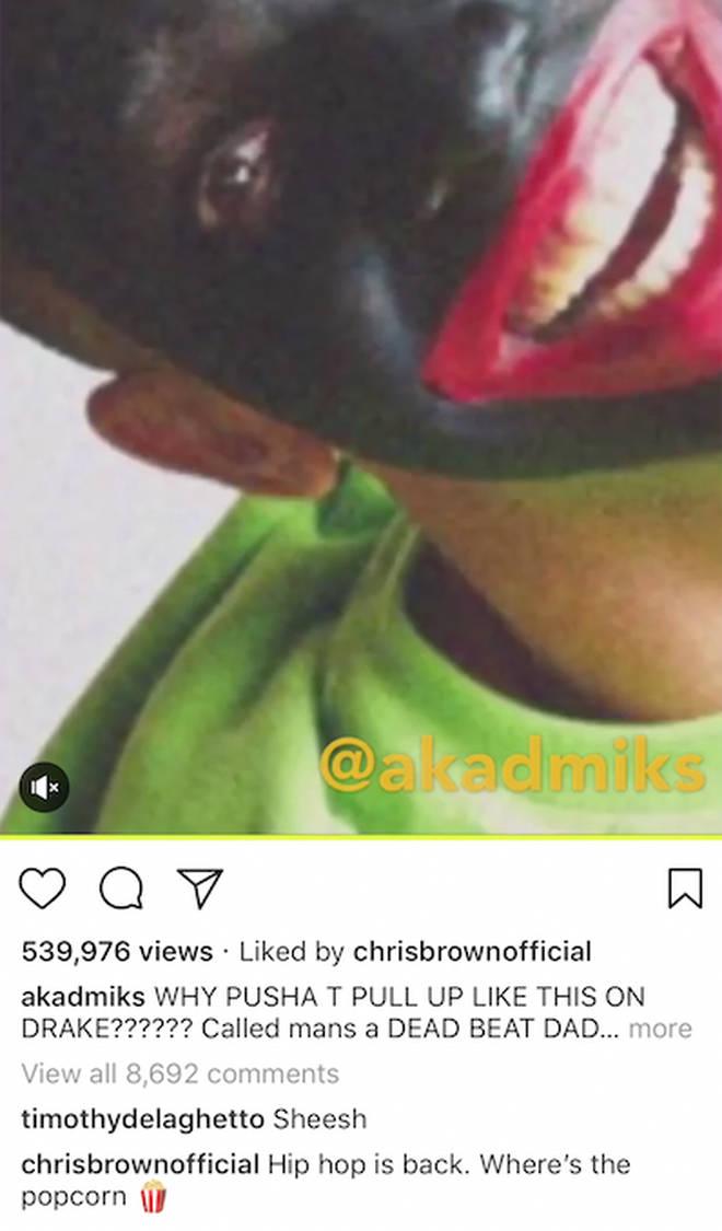 Chris Brown responds on Instagram.