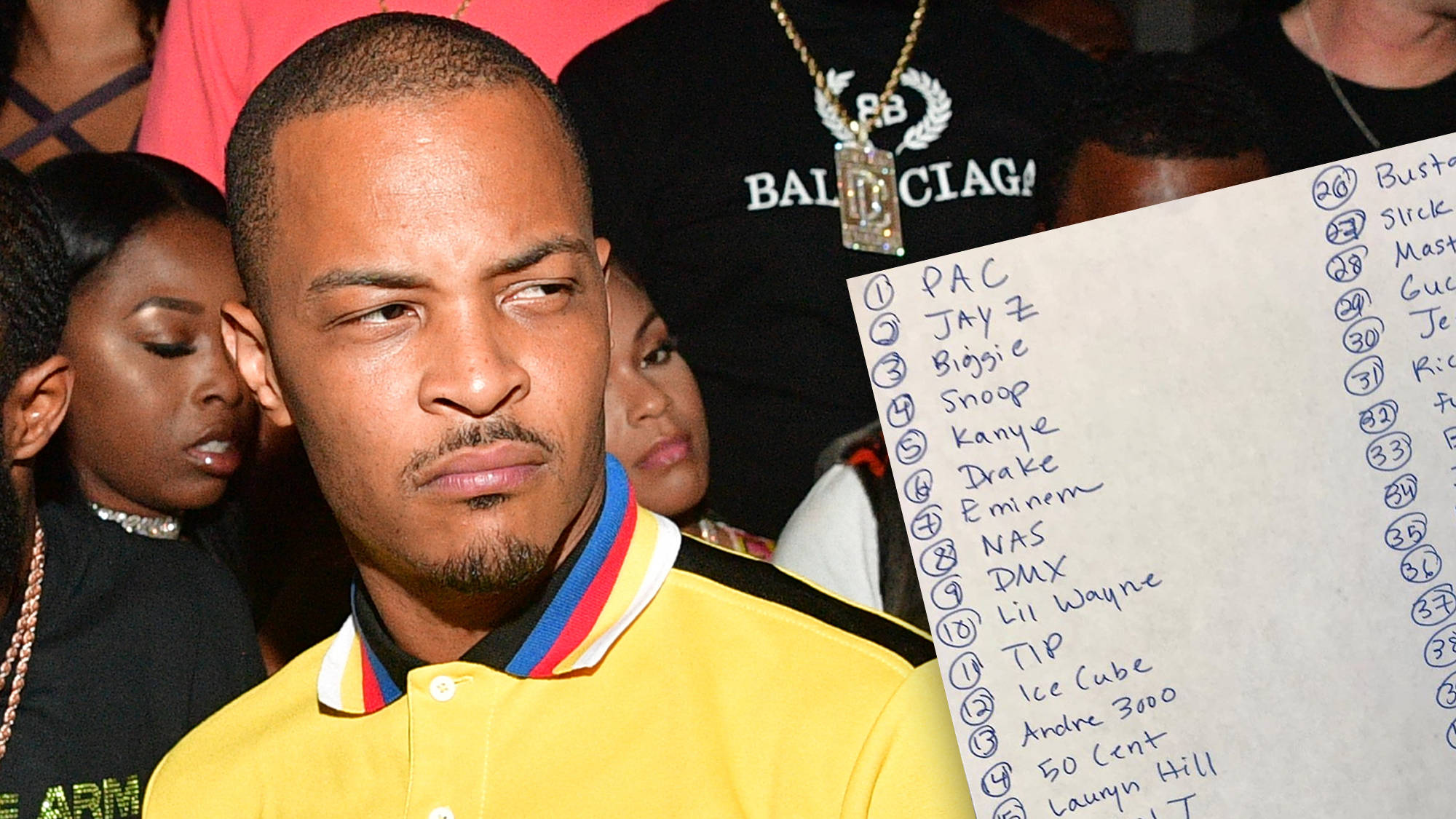 T I  Ranks His Top 50 Rappers Of All Time & People Are