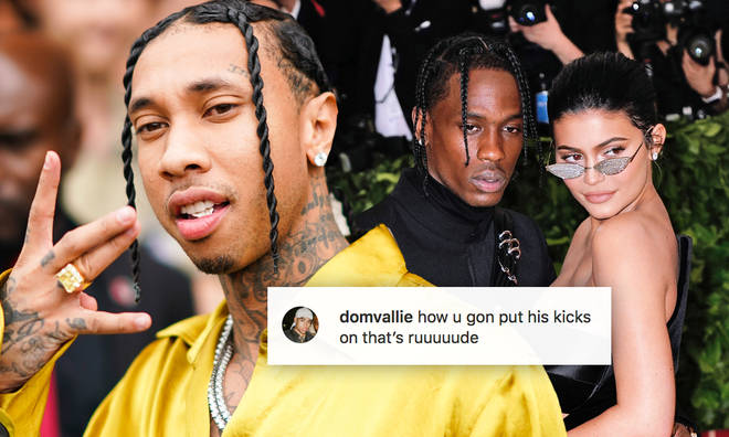 Tyga uploade a photo of himself wearing Travis Scott's Air Jordans.