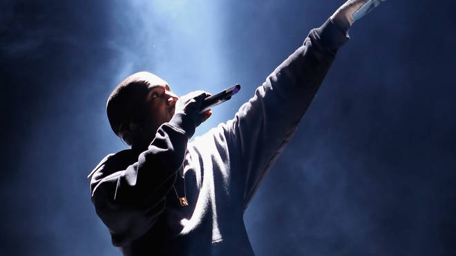 Kanye West performing in New York City.