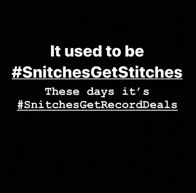 """It used to be #SnitchesGetStitches. These days it&squot;s #SnitchesGetRecordDeals,"" wrote The Game on Instagram."