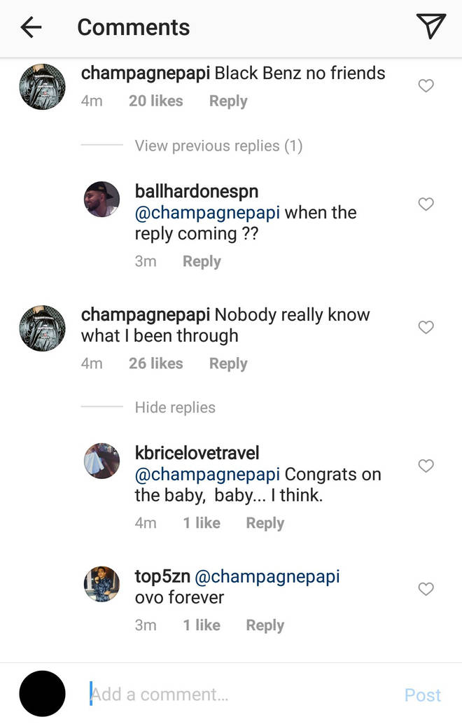 Drake's Instagram comment.