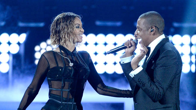 Beyoncé & Jay Z perform during the 56th GRAMMY Awards.