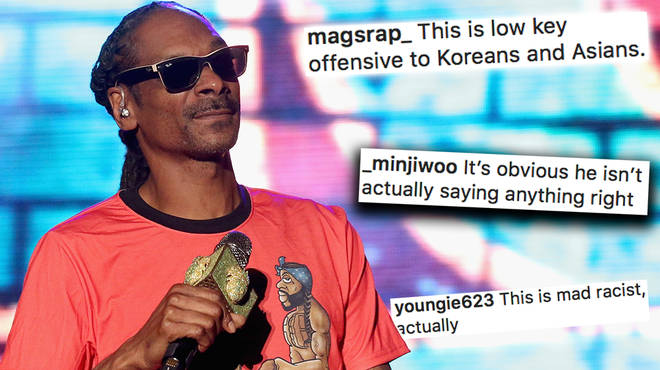 "Snoop Dogg has been accused of being ""racist"" after a video shows him ""rapping in Korean"""
