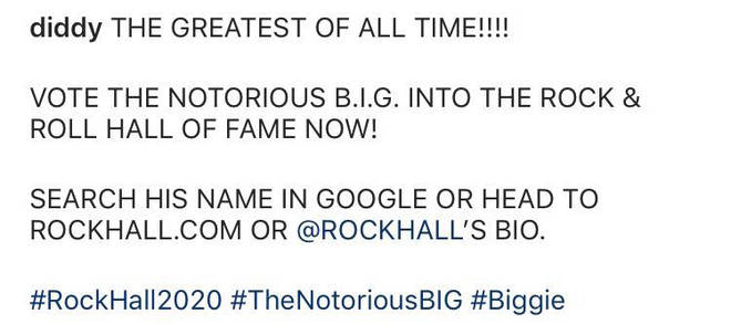 Diddy urged his followers to vote The Notorious B.I.G. into the Rock & Roll Hall Of Fame.