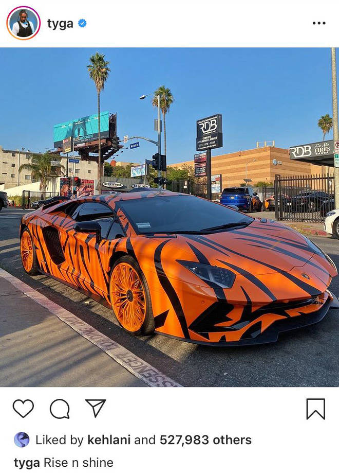 """Rise n Shine"" wrote Tyga alongside a picture of his tiger-wrapped sportscar."