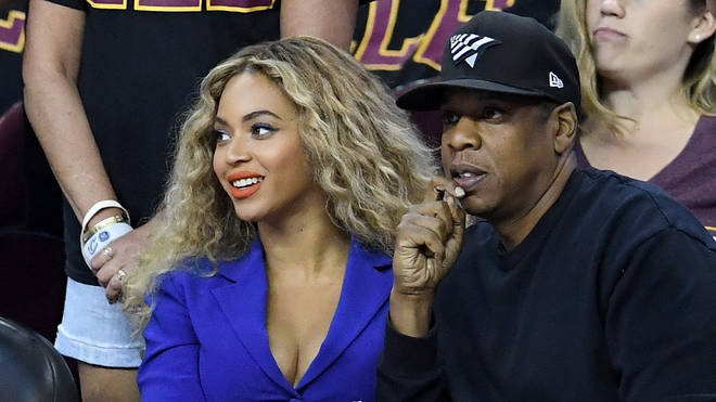 Beyonce and Jay Z at a 2016 NBA Finals game