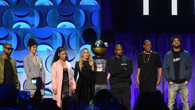 Jay Z and all the artists at the Tidal launch event