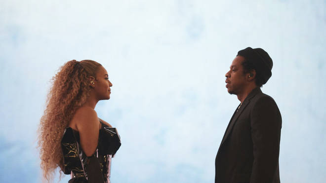 Beyoncé and Jay Z perform during their 'On the Run II' tour.