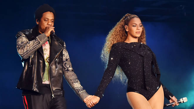 Jay-Z and Beyonce Knowles perform during the 'On the Run II' tour in Cardiff.