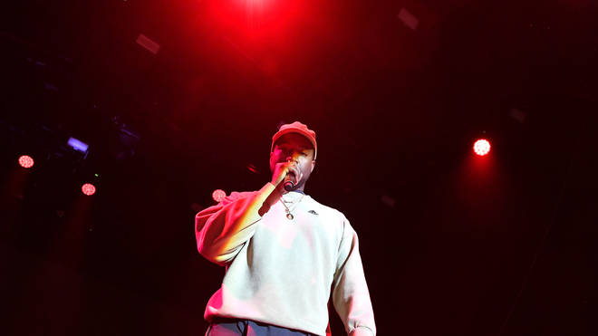 Kanye West on stage in Los Angeles