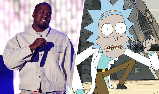 Kanye West Rick and Morty composite