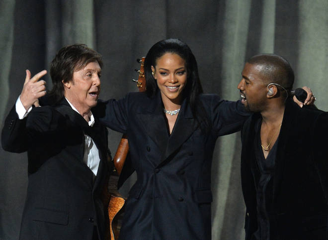 Paul McCartney, Rihanna & Kanye West at the 57th Annual Grammy Awards in 2015.