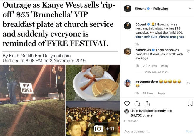 50 Cent trolls Kanye West on Instagram
