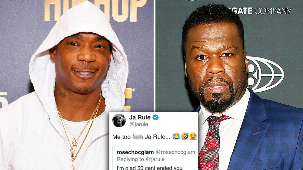 """Ja Rule mocks 50 Cent for getting """"beat up, stabbed and shot"""" in fan clap-back"""