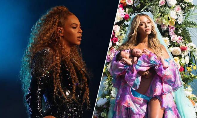 Beyoncé with Rumi and Sir Carter.
