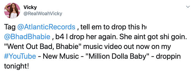 Woah Vicky urged Atlantic Records to drop Bregoli from their label before promoting her new music.