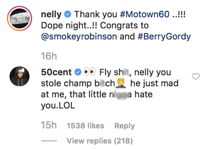50 Cent comments underneath Nelly's photo