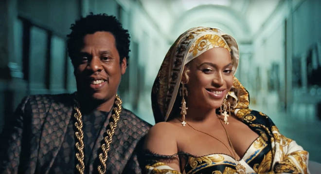 The Carters in the official music video for 'APESH*T'.