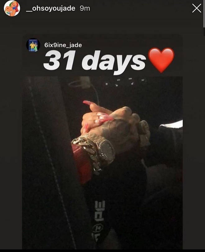 "Tekashi 6ix9ine&squot;s girlfriend Jade confused fans by posting a potential ""release date"""
