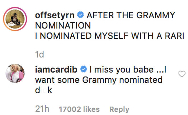 Cardi B leaves raunchy comment underneath Offset's post